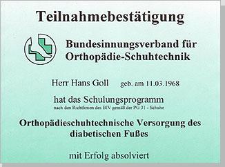 Teilnahmebestätigung für die Orthopädieschuhtechnische Versorgung des diabetischen Fußes